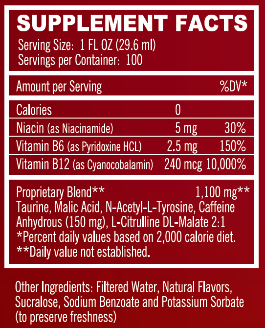XMODE ENERGY SHOTS ON TAP - WATERMELON RUSH SUPPLEMENT FACTS